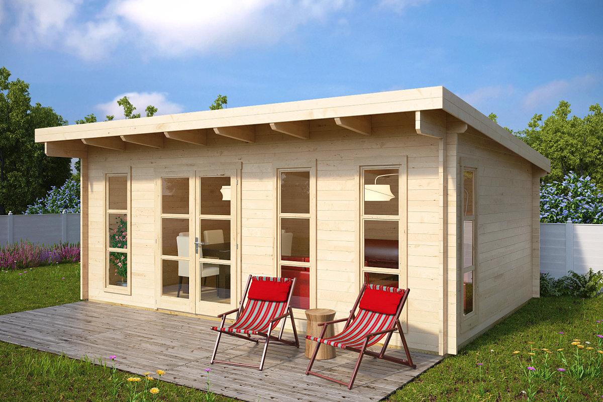 gartenhaus mit pultdach barbados 21m 44mm 6x4 hansagarten24. Black Bedroom Furniture Sets. Home Design Ideas