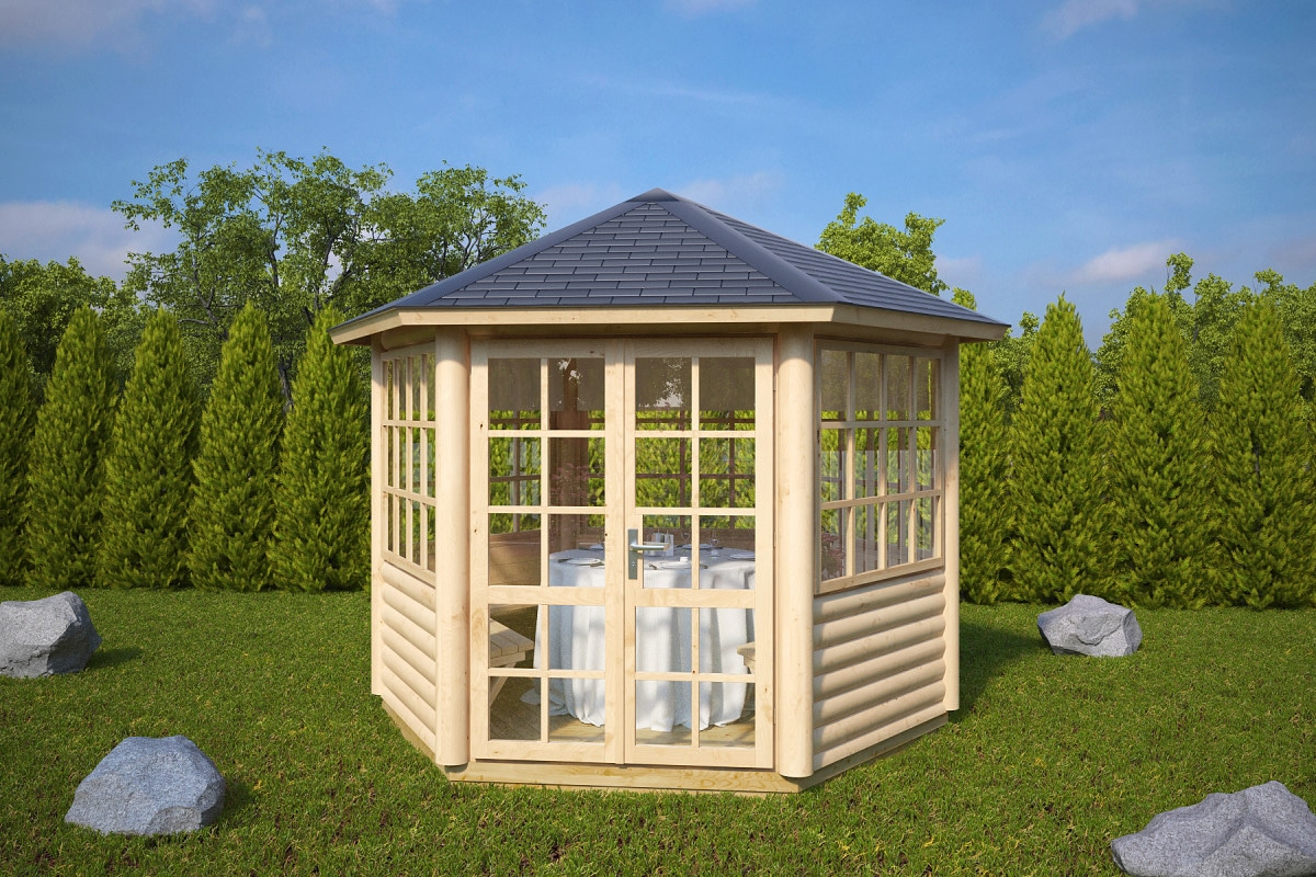 6 eck gartenpavillon seattle 6 m 55mm 3x3 hansagarten24. Black Bedroom Furniture Sets. Home Design Ideas