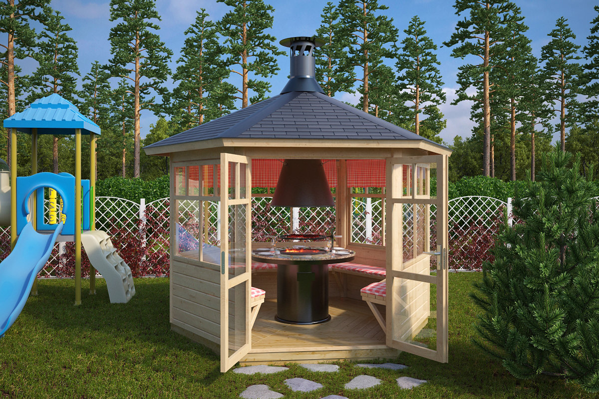 Grillpavillon paradise 6 m 42mm 3x3 hansagarten24 for Grill pavillion