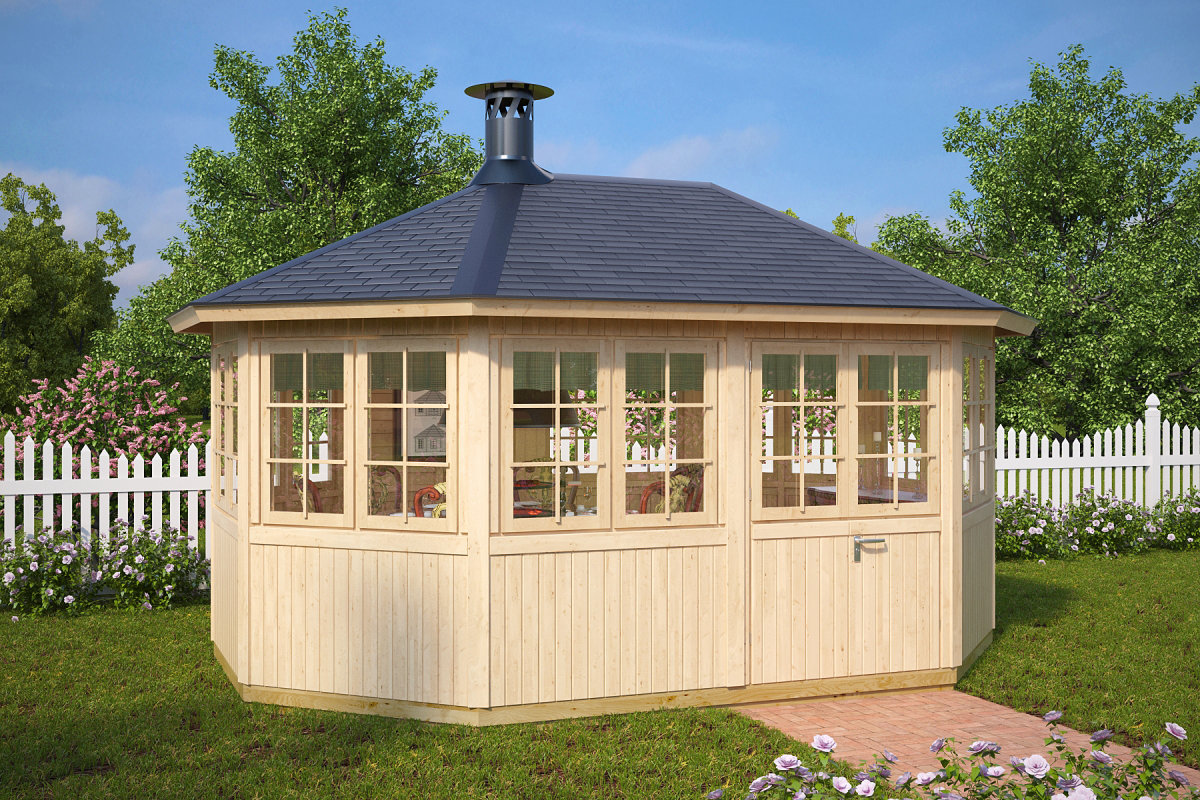 Gartenhaus mit grill albatros 12 m 21mm 3x5 for Grill pavillion