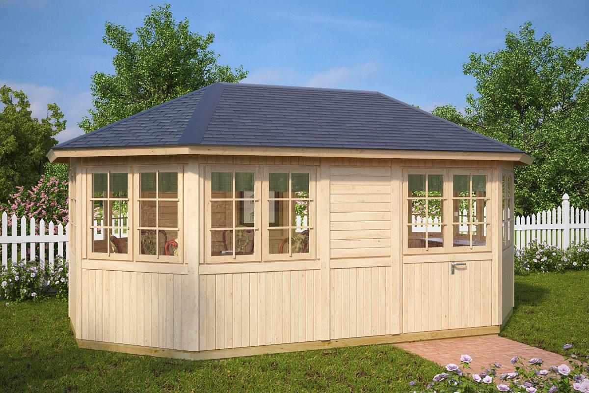 Gartenhaus Mit Sommerküche : 8 eck gartenhaus albatros xl 15 m² 21mm 3x5 hansagarten24