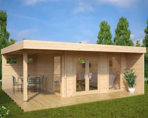 Modernes Gartenhaus mit Terrasse Hansa Lounge XL mit 2 optionalen extra Fenstern