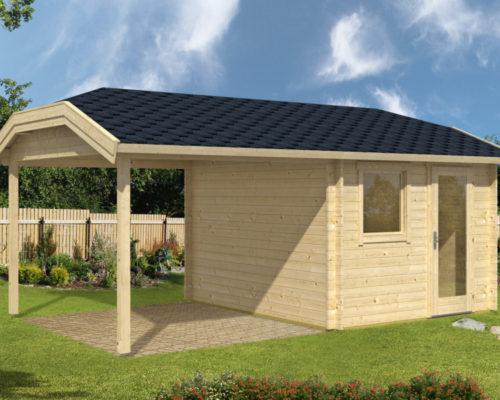 gartenhaus mit dachterrasse carol a 9m 40mm 300x350cm hansagarten24. Black Bedroom Furniture Sets. Home Design Ideas
