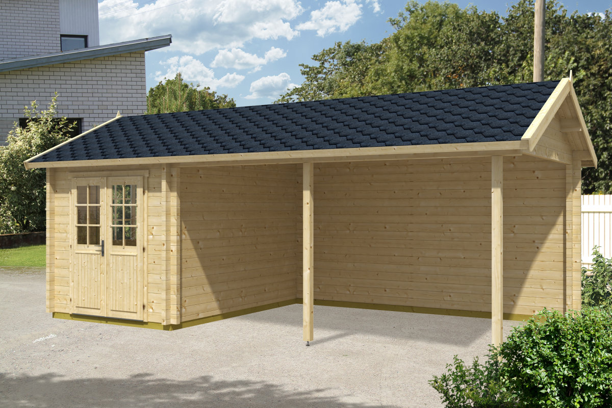 carport mit ger teraum arthur 21m 70mm 3x7 hansagarten24. Black Bedroom Furniture Sets. Home Design Ideas