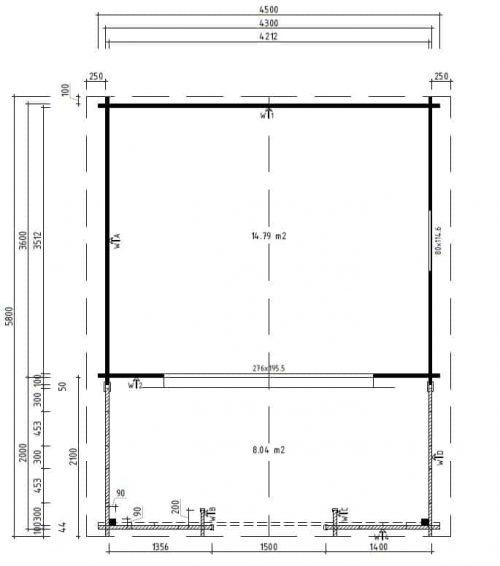 Gartenhaus mit Schiebetür Franz Grundplan