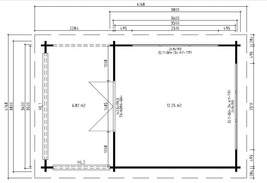 gartenhaus mit terrasse anette 19m 50mm 4x6. Black Bedroom Furniture Sets. Home Design Ideas