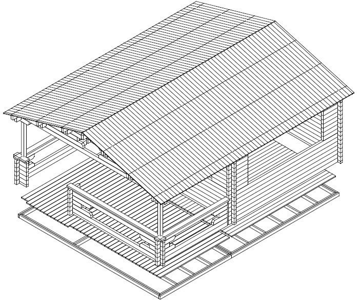 gartenhaus mit veranda armin 18 8m 70mm 5x7. Black Bedroom Furniture Sets. Home Design Ideas