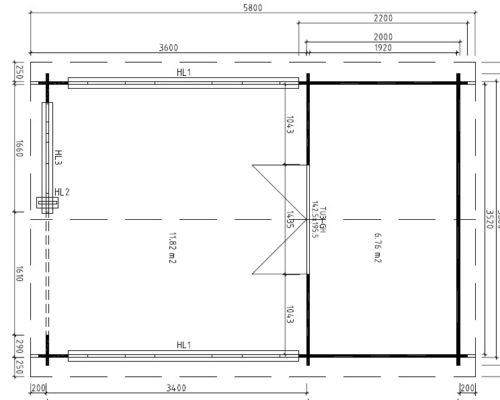 Gartenhaus mit Veranda Vera grundplan