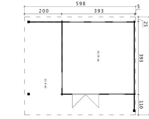 Gartenhaus Hansa Lounge XL grundplan