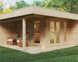Modernes Gartenhaus mit Terrasse Hansa Lounge 12m² / 44mm / 5×5