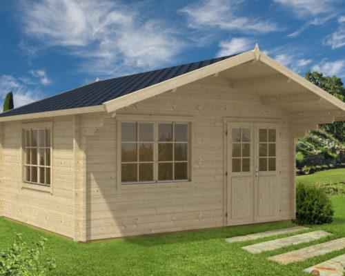 gr e gartenhaus mit vordach karmen 18m 50mm 4x5. Black Bedroom Furniture Sets. Home Design Ideas