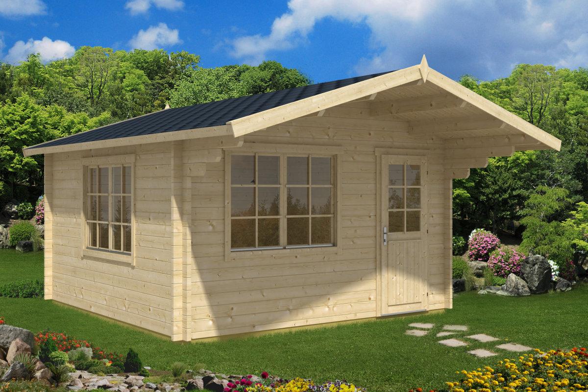 holz gartenhaus mit vordach marcus a 14 5m 44mm 4x4 hansagarten24. Black Bedroom Furniture Sets. Home Design Ideas