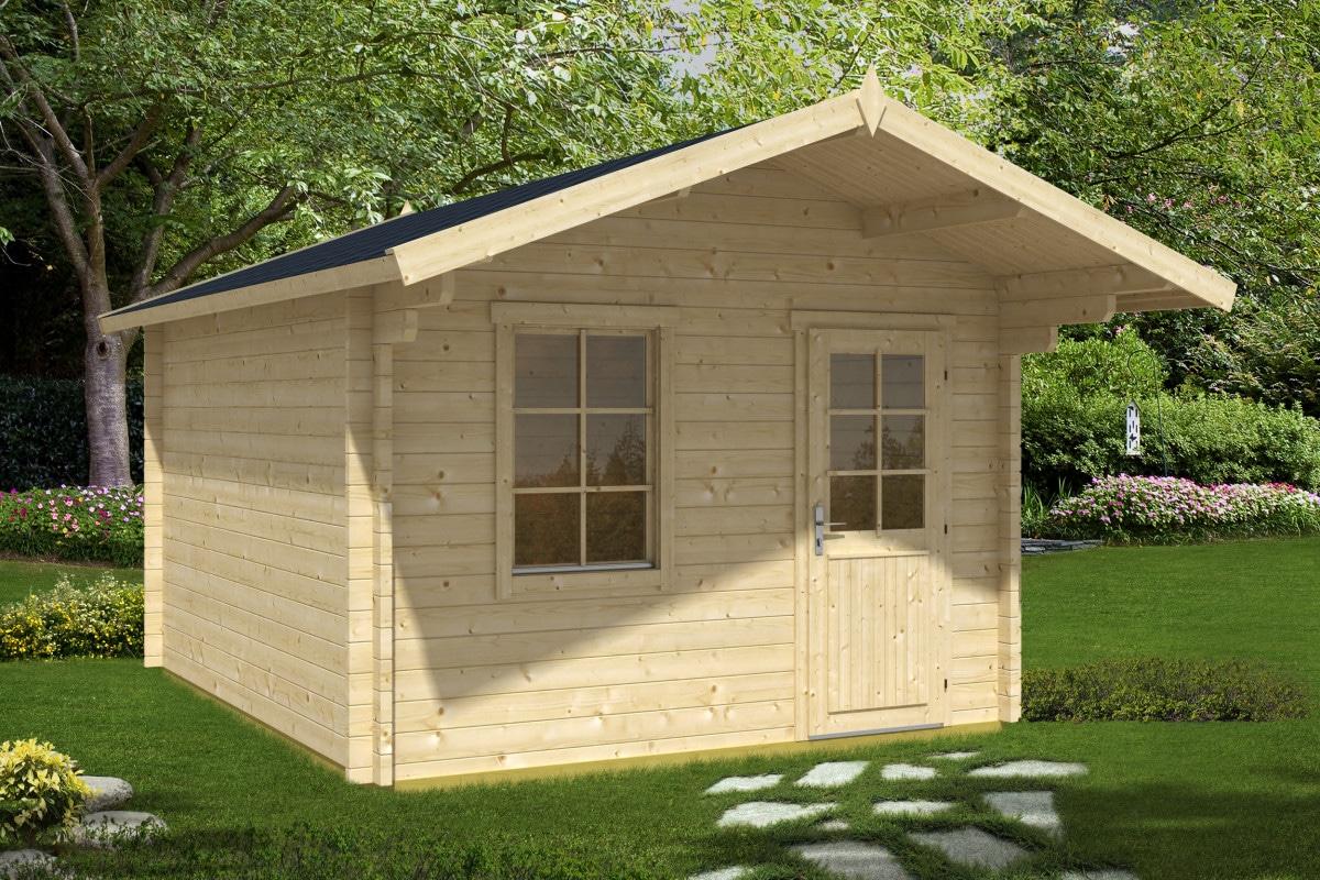 gartenhaus mit vordach oslo xl 44mm 3x4 hansagarten24. Black Bedroom Furniture Sets. Home Design Ideas