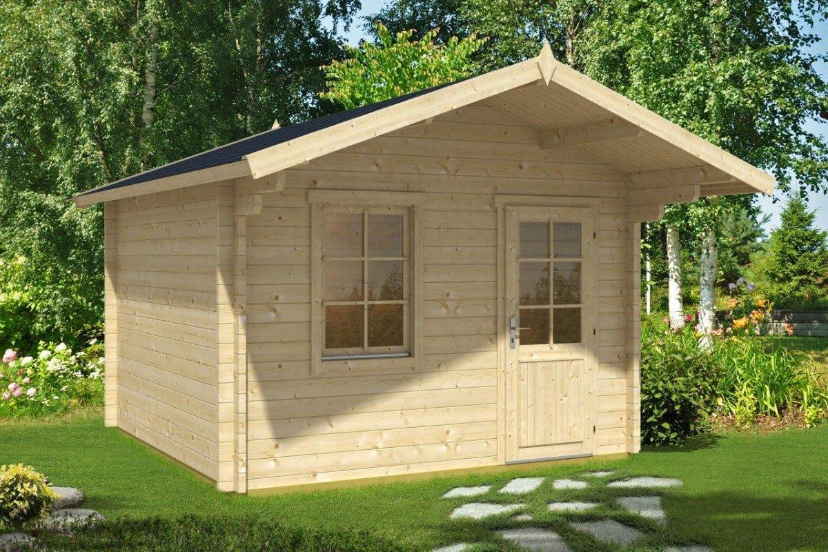 gartenhaus mit vordach oslo 10,5m²/ 44mm / 3x3 - hansagarten24
