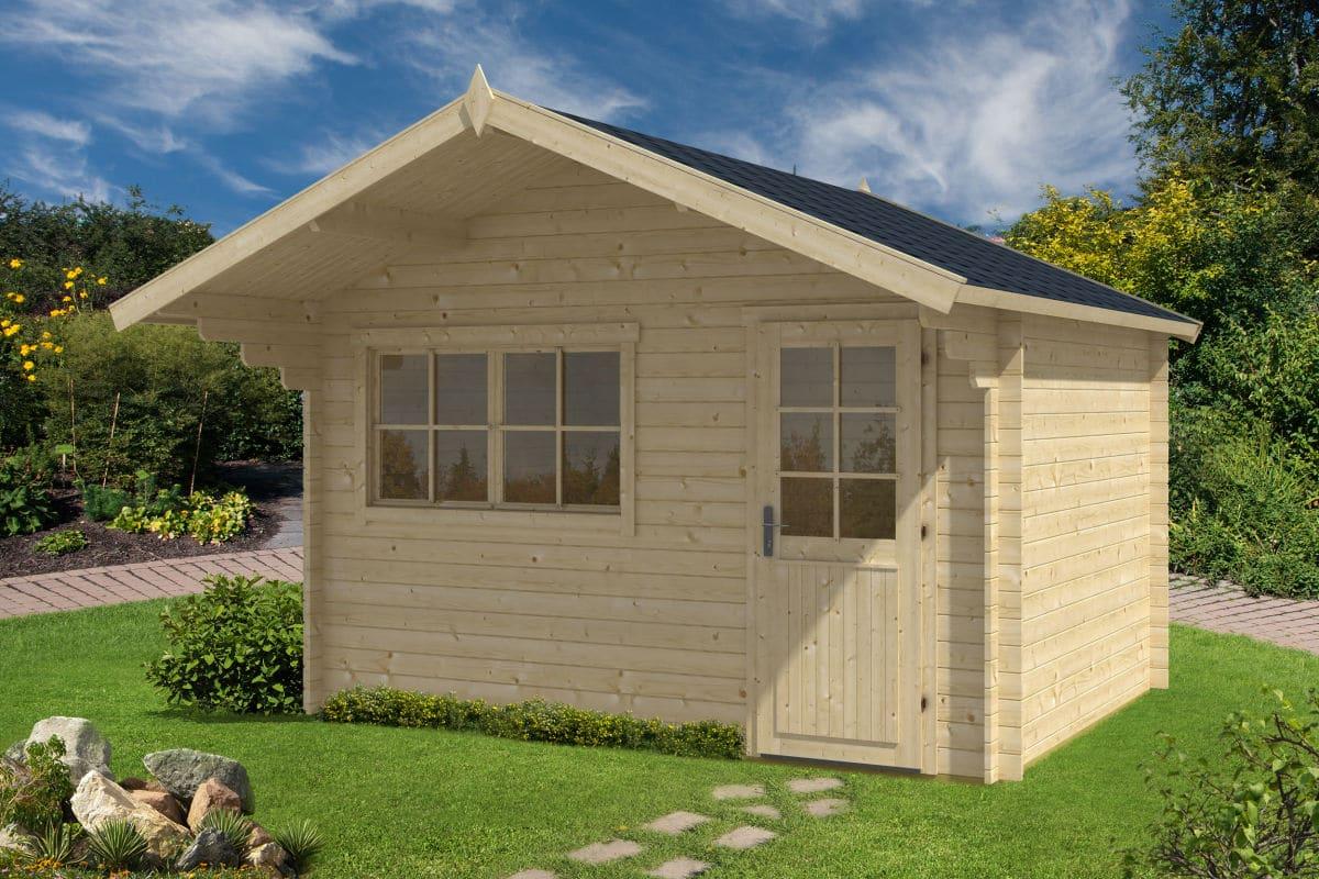 gartenhaus mit vordach rita l 10m 28mm 3x4 hansagarten24. Black Bedroom Furniture Sets. Home Design Ideas