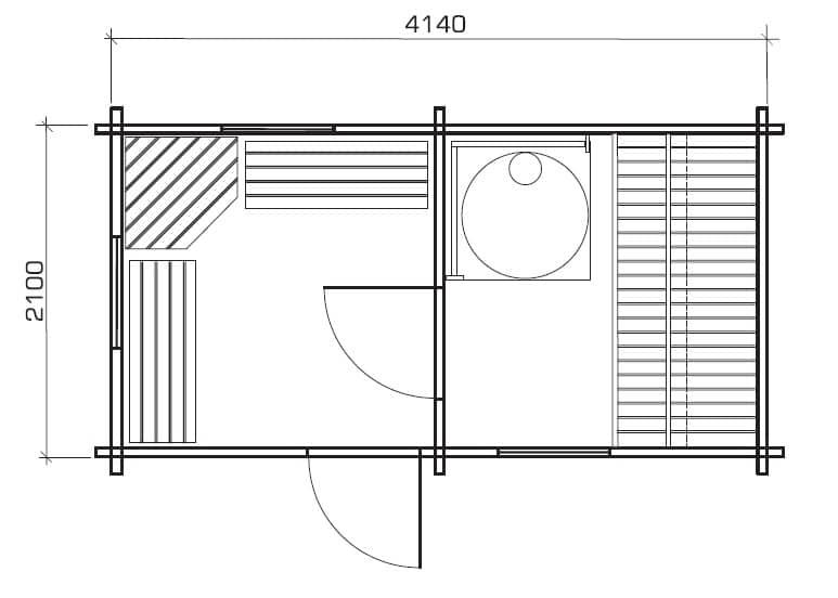 Gartensauna matti 8m 58mm 2 2 x 4 2 m hansagarten24 for Sauna floor plans