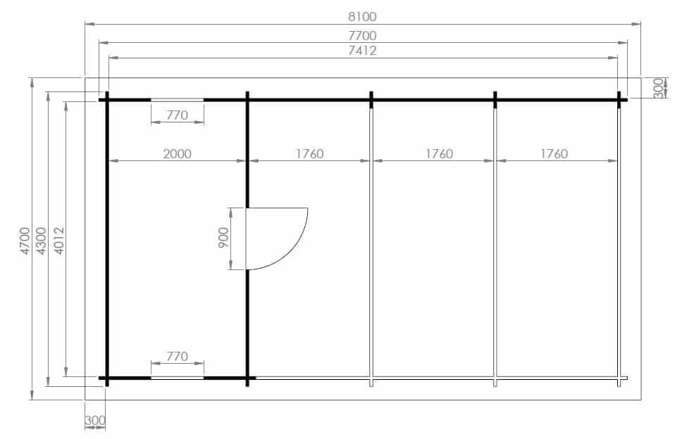 carport mit schuppen emma 30m 44mm 4x8 hansagarten24. Black Bedroom Furniture Sets. Home Design Ideas