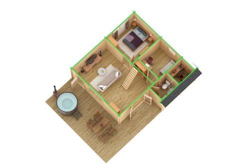 Ferienhaus mit Schlafboden Dakota 42 m² / 70mm / 7x7m