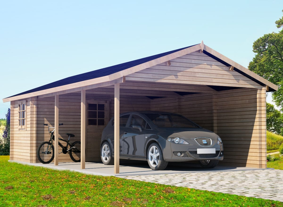 carport mit schuppen emma 30m 44mm 4x8 hansagarten24. Black Bedroom Furniture Sets. Home Design Ideas
