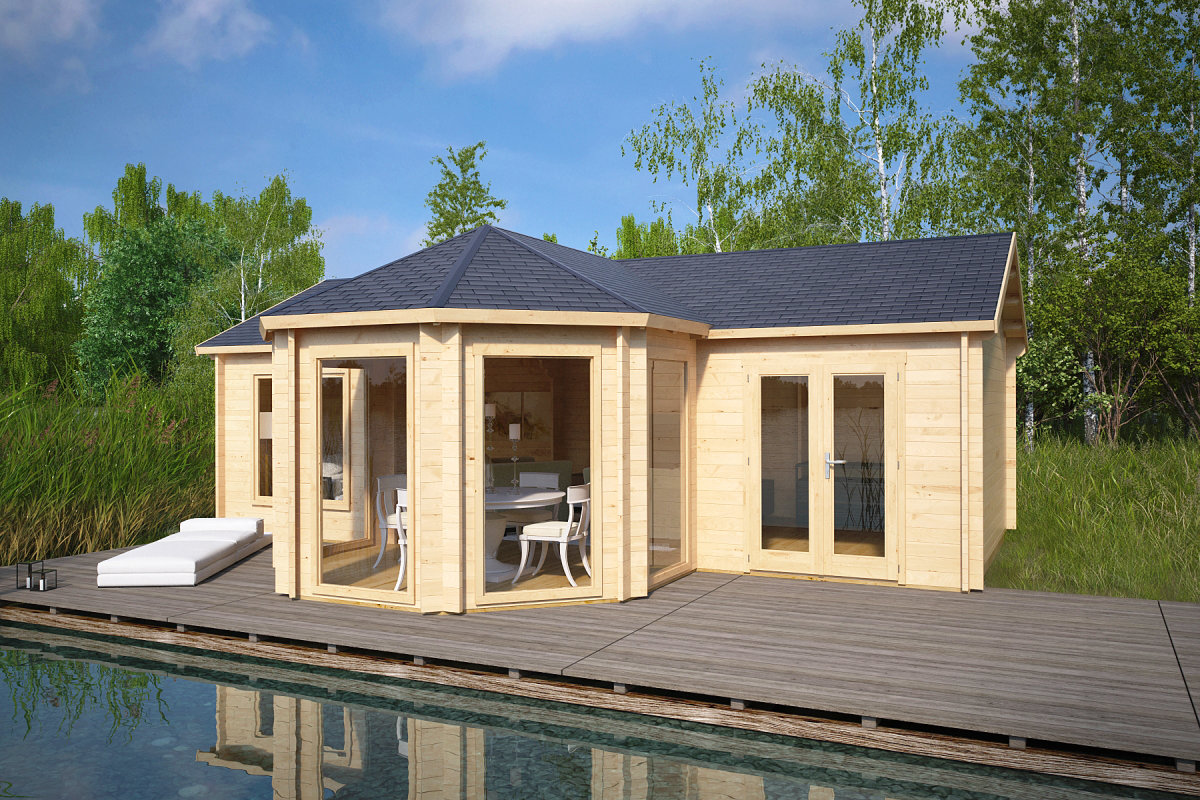 Design gartenhaus royal suite 36m 44mm 8x6 for Design gartenhauser