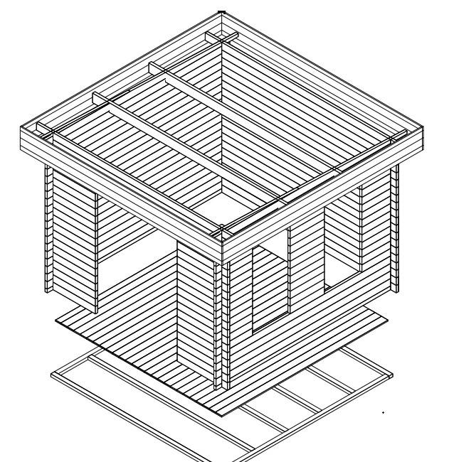 gartenhaus mit flachdach lucas b 8 5m 40mm 3x3 hansagarten24. Black Bedroom Furniture Sets. Home Design Ideas