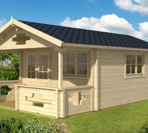 gartenhaus mit vordach und terrasse sommerland b 19m 70mm 4x5 hansagarten24. Black Bedroom Furniture Sets. Home Design Ideas