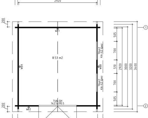 Werkstatt aus Holz Nora F Grundplan