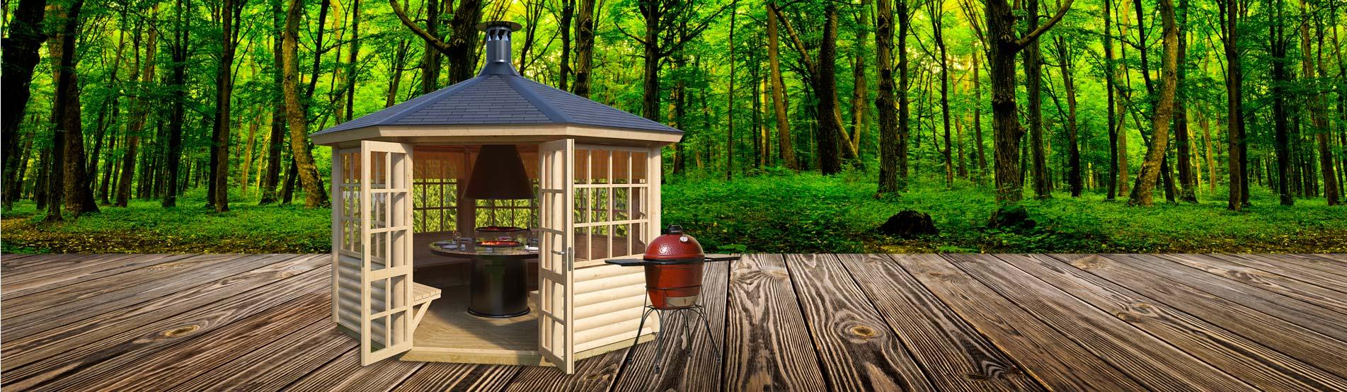 Machen Sie sich mit unserer Palette an Grillhütten für Gärten vertraut.