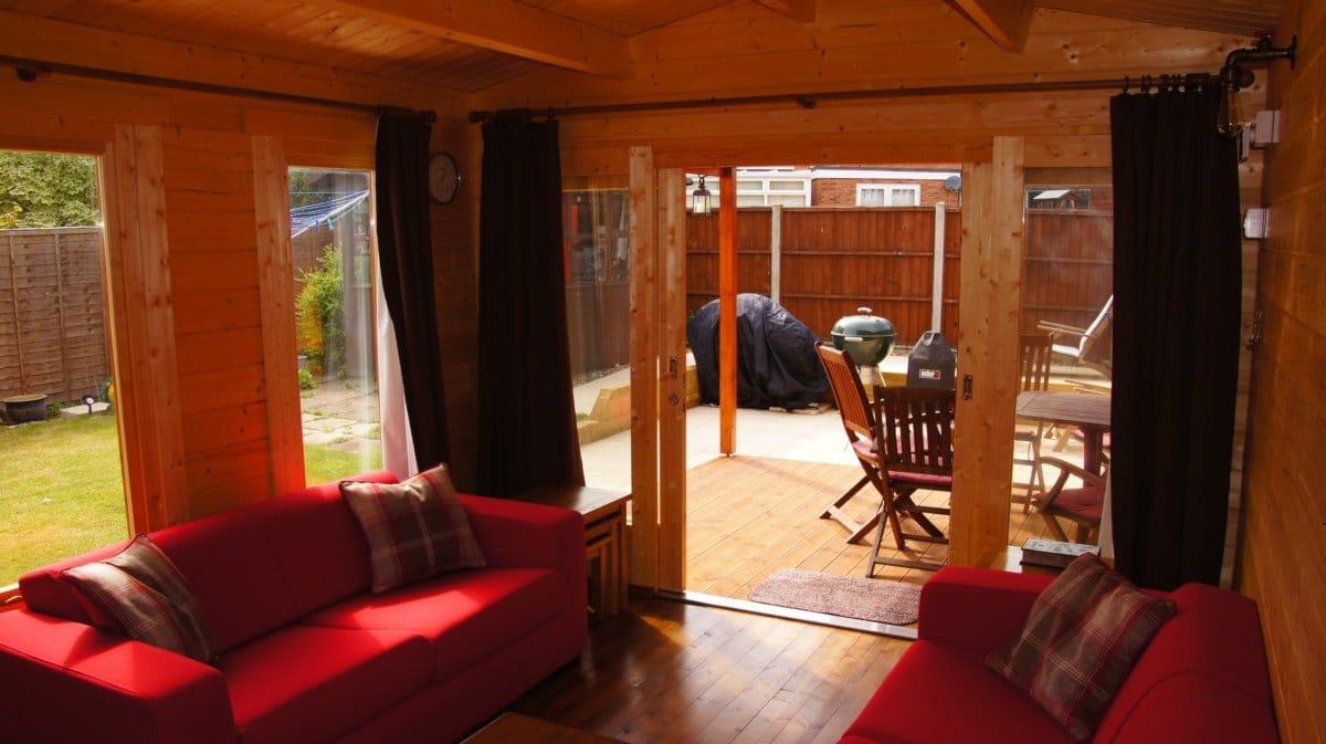 gartenhaus mit terrasse eva e 12m 44mm 3x7. Black Bedroom Furniture Sets. Home Design Ideas