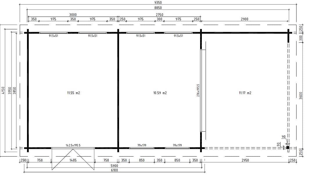 gartenhaus mit 2 r umen robin 22m 50mm 9x4 hansagarten24. Black Bedroom Furniture Sets. Home Design Ideas