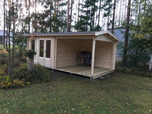 Gartenhaus mit Terrasse Nora D 9m² 44mm 3×6