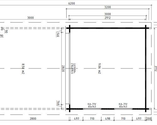 Gartenhaus mit Terrassendach Nora E grundplan