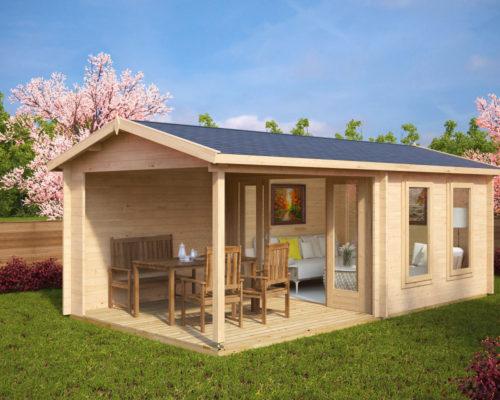 gartenhaus mit terrasse nora e 9m 44mm 3x6 hansagarten24. Black Bedroom Furniture Sets. Home Design Ideas