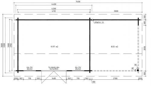 Holz-Gartenhaus mit Terrasse Eva D Grundplan