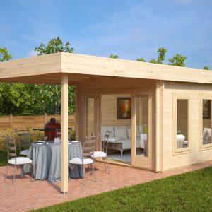 Modernes Gartenhaus aus Holz mit Terrassendach Jacob E