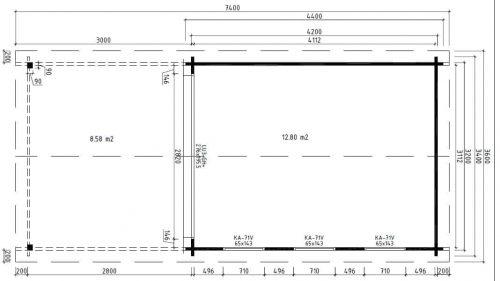 Modernes Gartenhaus aus Holz mit Terrassendach Jacob E Grundplan