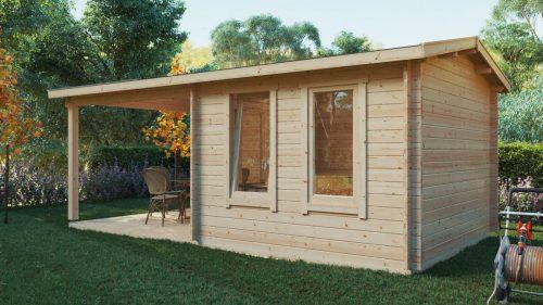 Gartenhaus mit Terrasse Nora E 9m² / 44mm / 3x6