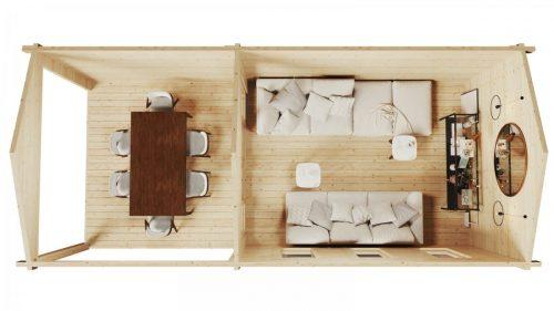 Gartenhaus mit Terrasse Eva E 12m² / 44mm / 3×7