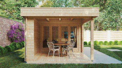 Modernes Gartenhaus mit Terrasse Jacob E 12m² / 44mm / 3x7