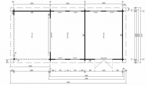 2-Raum Gartenhaus Rio grundplan