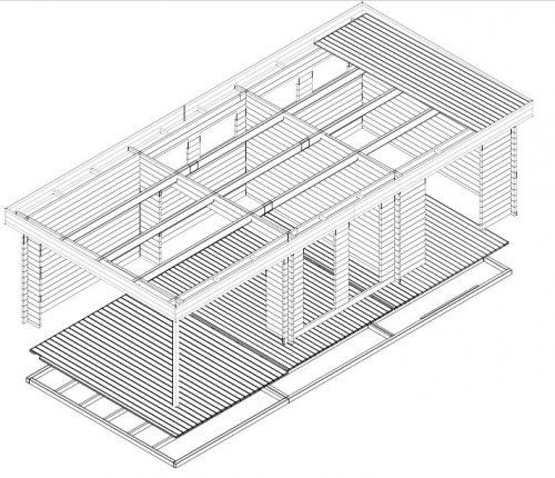 gartenhaus mit 2 zimmern rio 22m 58mm 4x9m. Black Bedroom Furniture Sets. Home Design Ideas