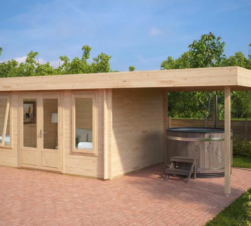 modernes holz gartenhaus mit terrasse jacob d 12m 44mm. Black Bedroom Furniture Sets. Home Design Ideas