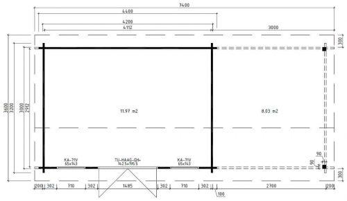 Modernes Holz-Gartenhaus mit Terrasse Jacob D Grundplan