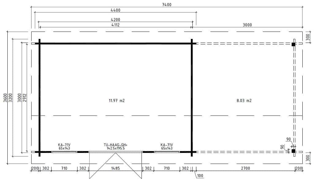 Gartenhaus Holz Mit Terrasse ~  Modernes Holz Gartenhaus mit Terrasse Jacob D 12m²  44mm  3×4