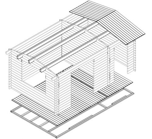 "Gartenhaus mit Geräteraum ""Super-Fred"" 3D"