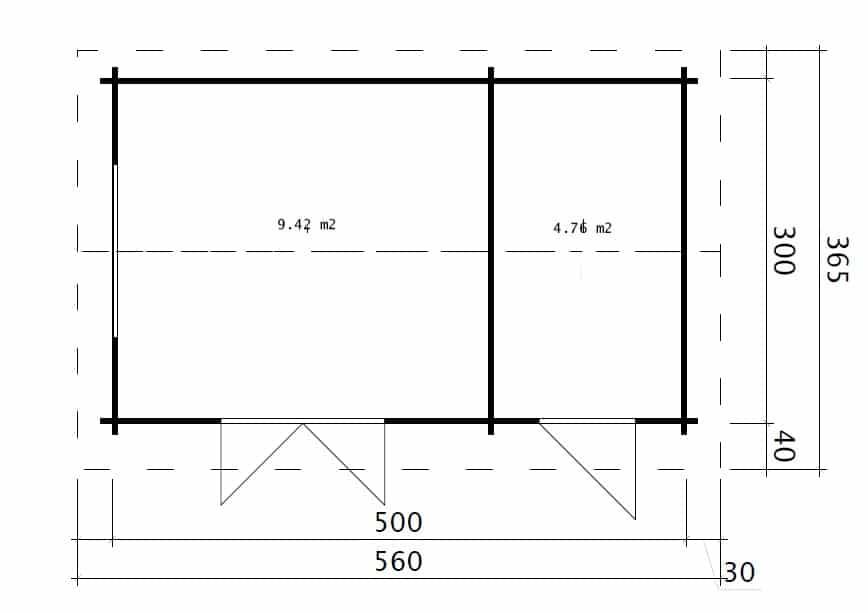 gartenhaus mit ger teraum super fred 15m2 44mm 5x3 hansagarten24. Black Bedroom Furniture Sets. Home Design Ideas