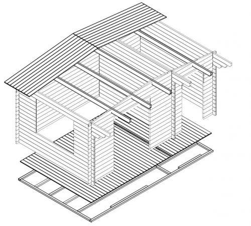 """Gartenhaus mit Geräteschuppen """"Super-Otto"""" 3D"""