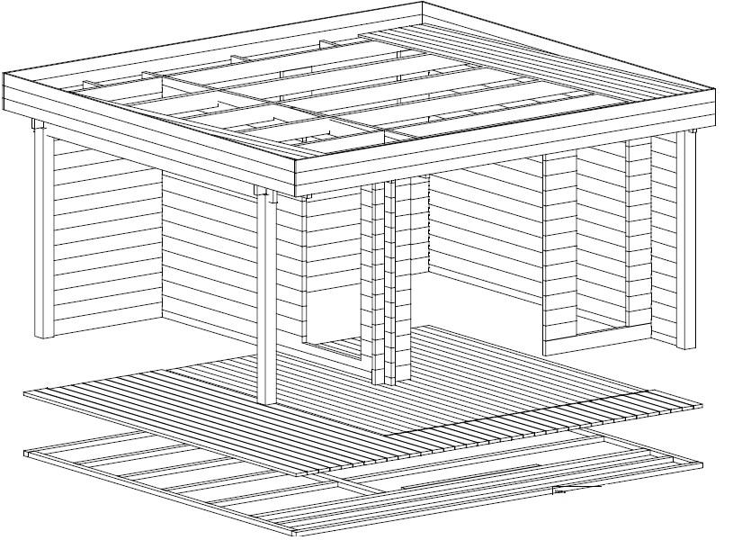 gartenhaus mini hansa lounge 9m2 44mm 3x3 hansagarten24. Black Bedroom Furniture Sets. Home Design Ideas