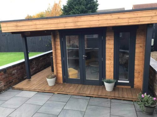 Gartenhaus Mini Hansa Lounge 9m2 44mm 3×3