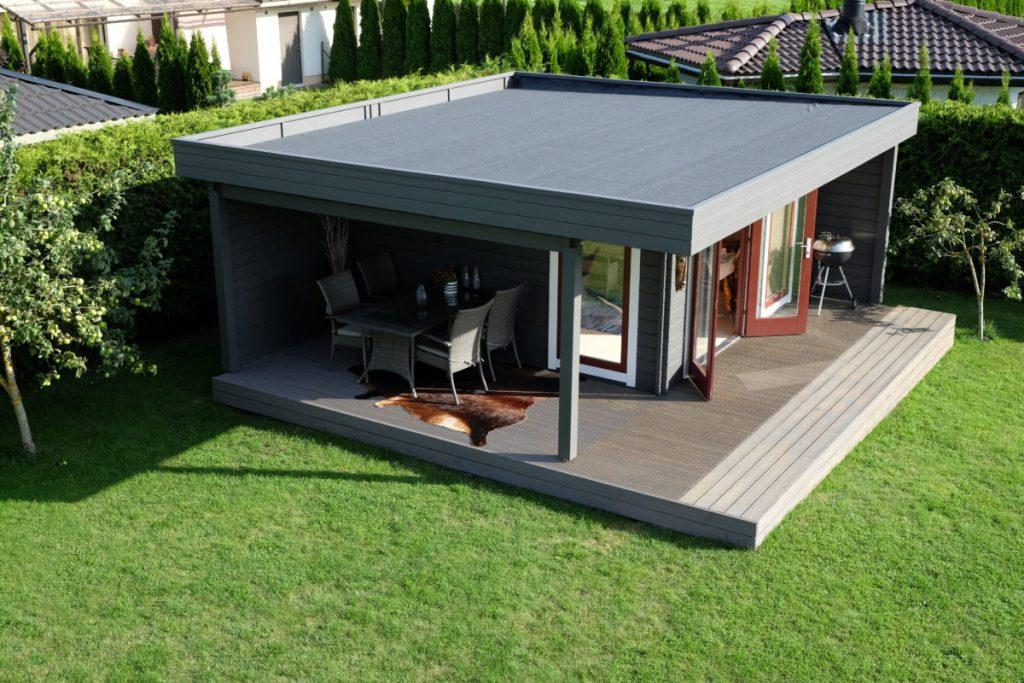 das hansa lounge xl gartenhaus mit erweitertem sonnendeck. Black Bedroom Furniture Sets. Home Design Ideas